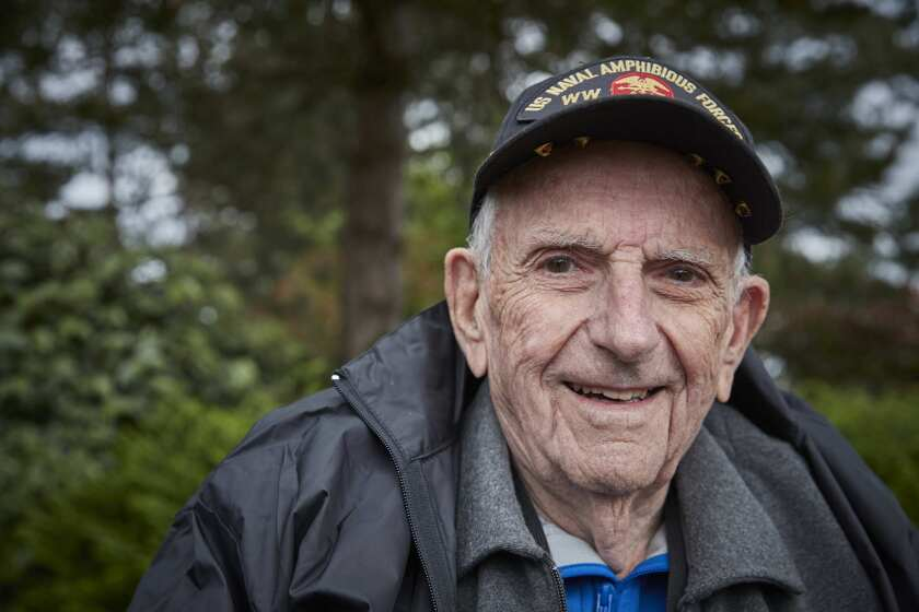 D-DAY VETERANS, FRANCE - MAY 23: Clifford Goodall (93 yrs old), 7th Naval Beach Battalion, at the Am