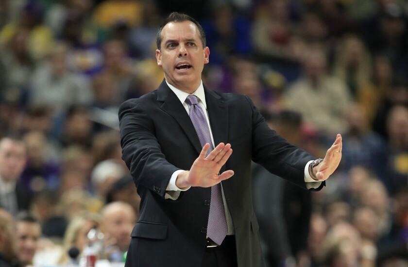 Lakers coach Frank Vogel gives instructions to his player during a game against the Pacers on Dec. 17, 2019, at Indianapolis.