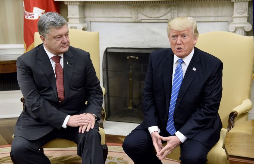 President Trump meets with Ukrainian President Petro Poroshenko at the White House in 2017.