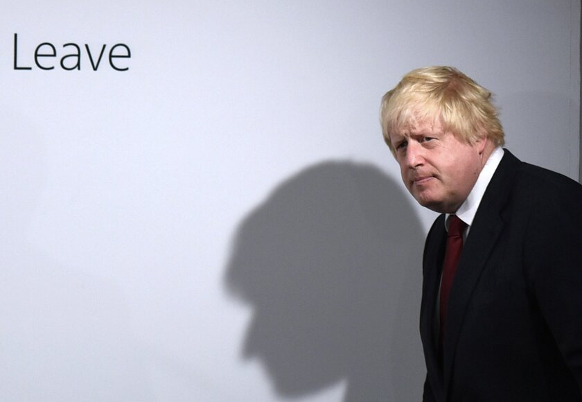 Vote Leave campaigner Boris Johnson arrives for  a press conference at Vote Leave headquarters  in London Friday June 24, 2016.  Britain's Prime Minister David Cameron announced Friday  that he will quit as Prime Minister following a defeat in the referendum which ended with a vote for Britain to l