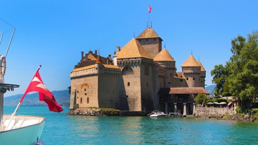 The castle of Chillon was built in the 12th century on a rocky island in Lake Geneva and is the most