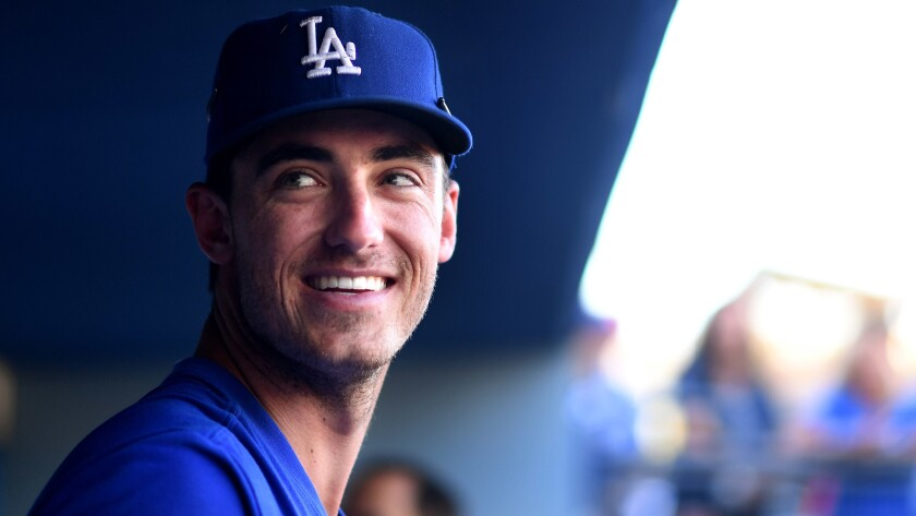 LOS ANGELES, CALIFORNIA JUNE 26, 2017-Dodgers Cody Bellinger in the dugout before a recent game at D