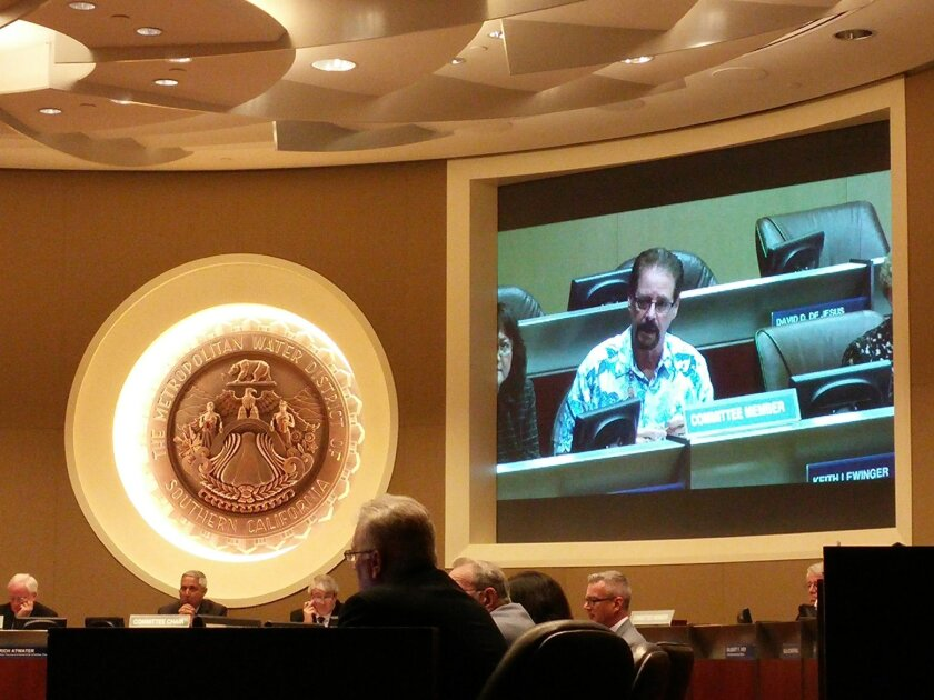 Keith Lewinger, San Diego County Water Authority representative, at MWD meeting on Monday, April 13, 2015.