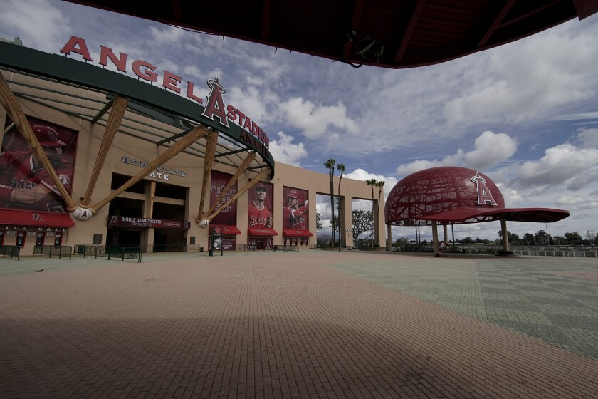 An empty Angel Stadium is shown on March 25.