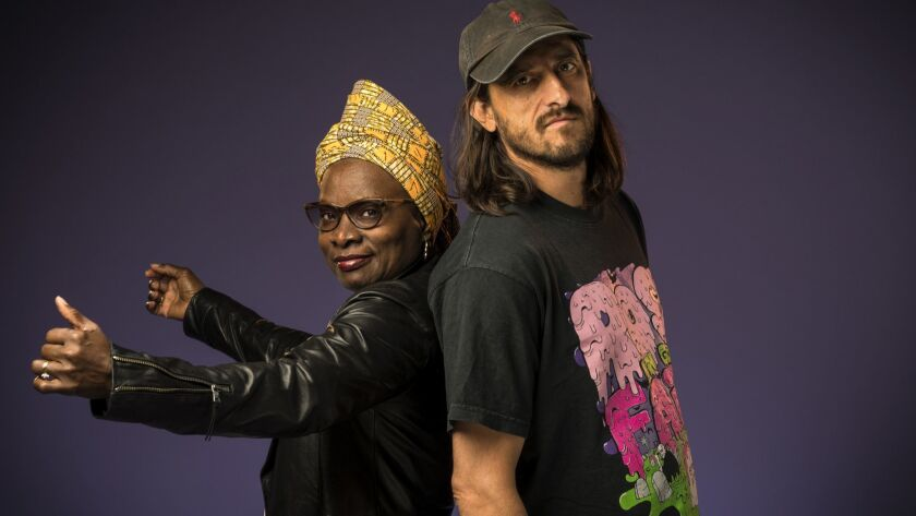 LOS ANGELES, CA - 05-01-2018 - African singer Angelique Kidjo with her producer, Jeff Bhasker, photo