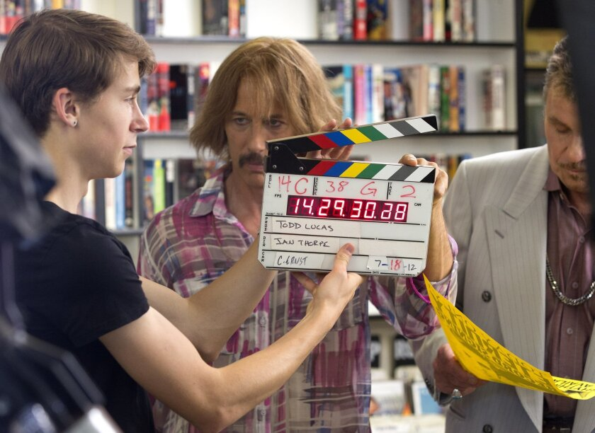 """Actor Jon Gries (center) has some fun with the clapperboard during the shooting of """"Todd Lucas: Singer/Songwriter."""" Earnie Grafton • U-T photos"""