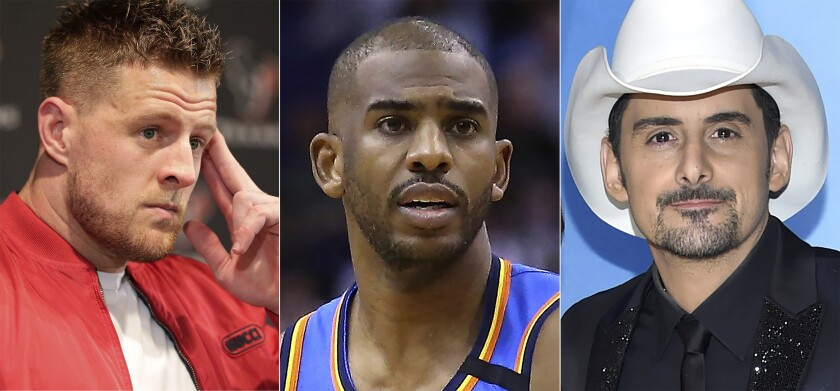 """This combination photo shows, from left, Houston Texans defensive end J.J. Watt during a news conference in Houston on Jan. 4, 2020, Oklahoma City Thunder guard Chris Paul during a game against the Phoenix Suns in Phoenix on Jan. 31, 2020 and Brad Paisley at the 51st annual CMA Awards in Nashville, Tenn. Watt, Paul and Paisley will appear in upcoming episodes of Amazon's docuseries """"Regular Heroes,"""" focusing on everyday people who are supporting communities during the coronavirus pandemic. (AP Photo)"""