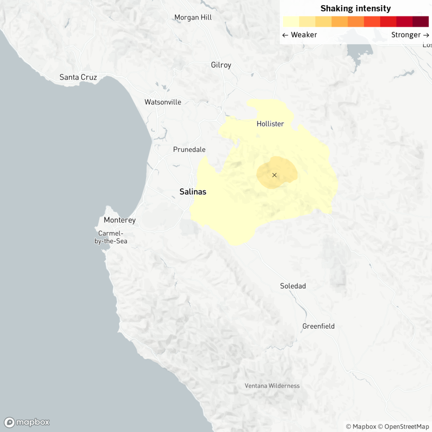 A magnitude 3.3 earthquake was reported June 10, 2020, at 6:25 a.m. seven miles from Hollister, Calif.