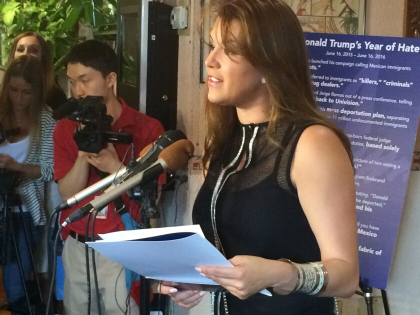 Former Miss Universe Alicia Machado speaks during a news conference in June in Arlington, Va.
