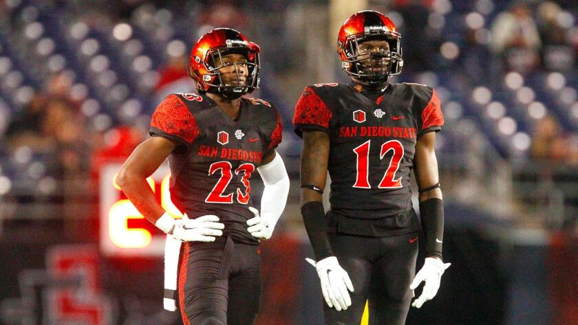 SAN DIEGO, CA, NOVEMBER 28, 2015 | The Aztecs' Damontae Kazee, left, and Malik Smith during the Aztecs game against Nevada at Qualcomm Stadium.