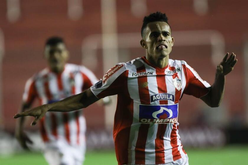 En la imagen, un registro de una celebración del jugador Luis Díaz del Junior. EFE/Archivo