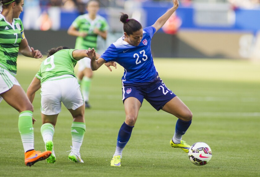 United States forward Christen Press is one of several national team players from the state of California.