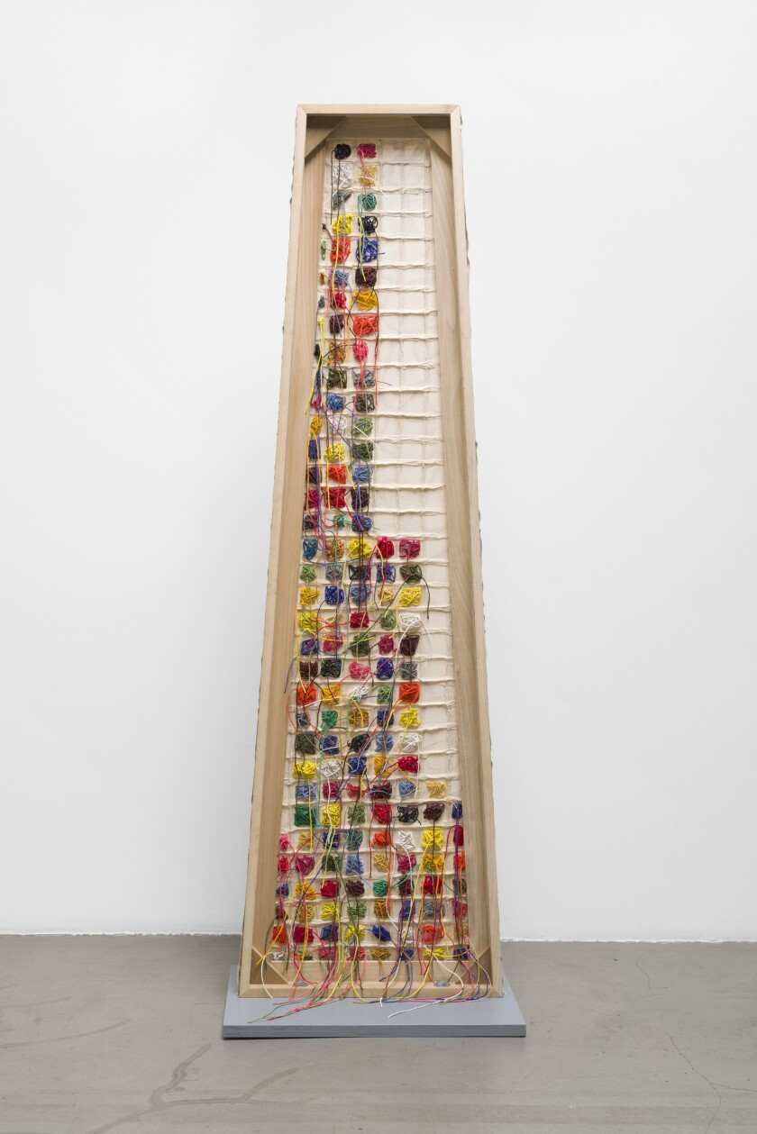 """The back of Dona Nelson's """"Shorty Q"""" on view at Michael Benevento."""