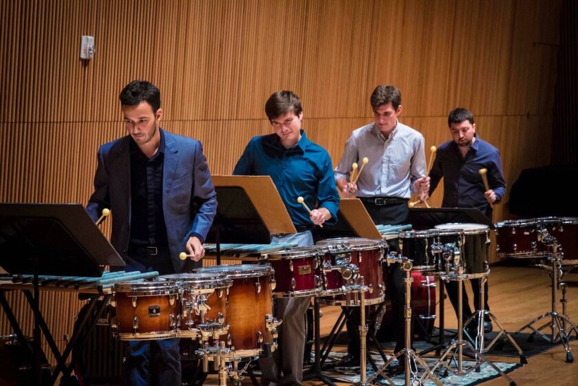 From left: Victor Caccese, Jonathan Allen, Terry Sweeney and Ian Rosenbaum are the Sandbox Percussion Quartet. The group makes its San Diego debut Oct. 19. Fresh Sound is presenting the concert at Bread & Salt in Barrio Logan.