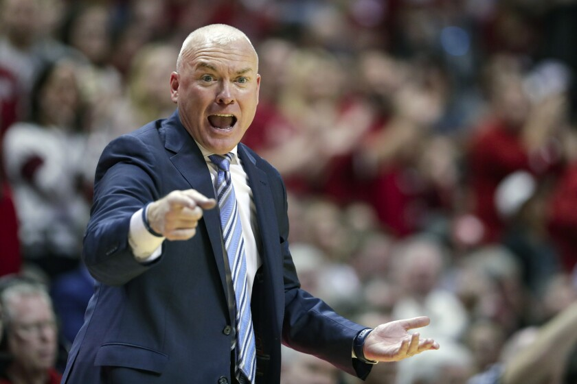 Penn State coach Pat Chambers gestures during a game in Bloomington, Ind.