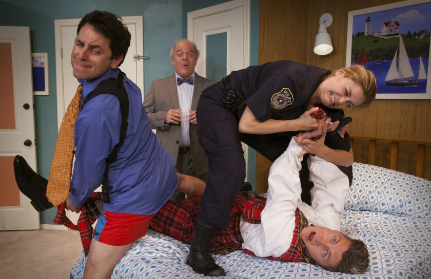 Eric, Billie (Jacque Wilke), Todd (David McBean, lying down) and Mayor Meekly (Ted Barton in back) are in a pickle of a situation in 'Unnecessary Farce' at North Coast Repertory Theatre.