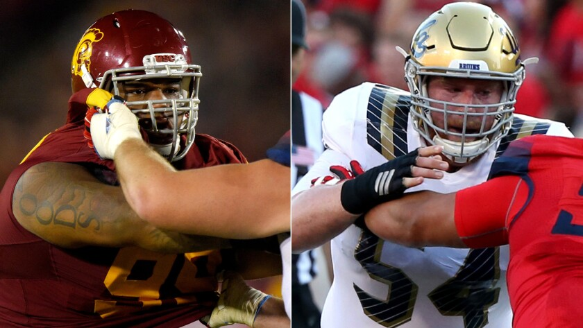 USC defensive lineman Antwuan Woods, left, and UCLA center Jake Brendel will be under the watchful eyes of NFL scouts on Saturday during the rivalry game.