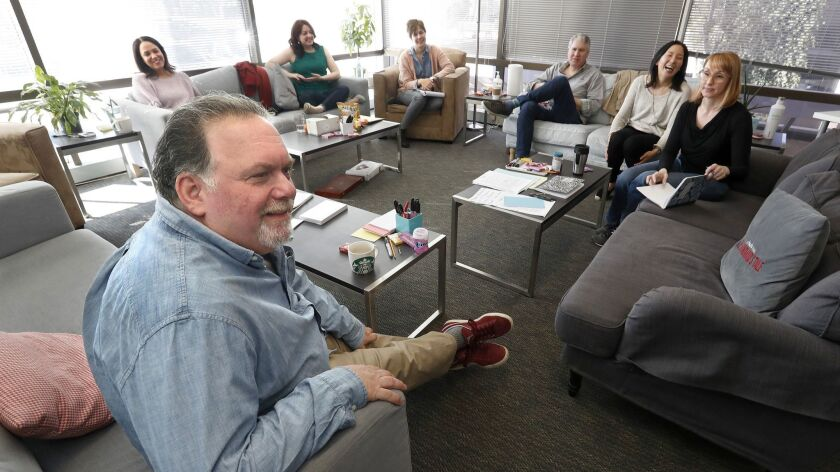 SHERMAN OAKS, CA-November 26, 2018: Clockwise from bottom left-Executive producer Bruce Miller, sup