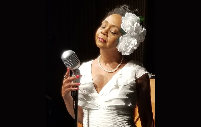 """Karole Foreman portrays jazz great Billie Holiday in the musical drama """"Lady Day at Emerson's Bar & Grill"""" at International City Theatre in Long Beach."""
