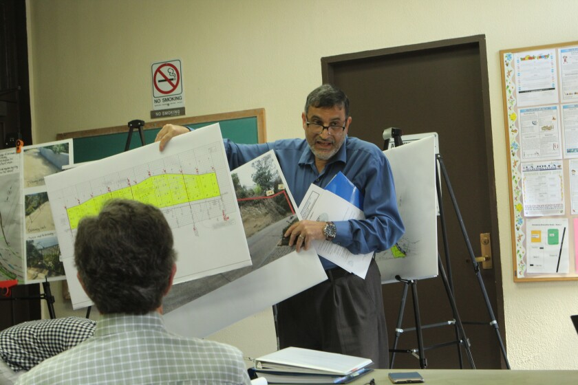 Applicant's rep Mahmoud Oriqat receives the La Jolla Development Permit Review Committee's sole green light at its Aug. 13 meeting. He got the committee's blessing for a variance and permit to build a soil nailing wall at 1643 Valdes Drive.