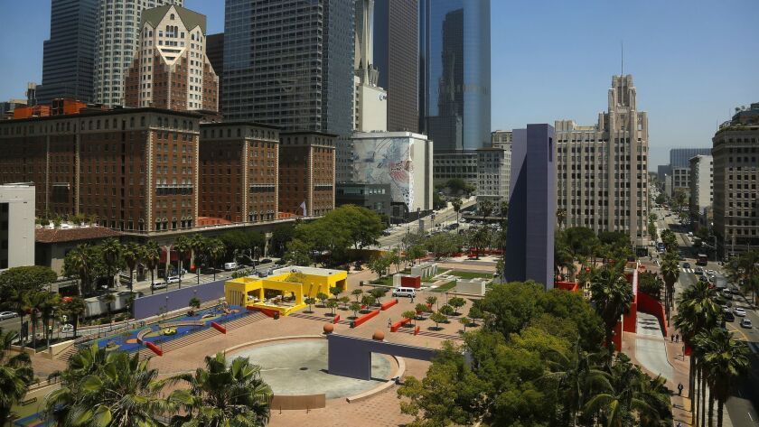 Pershing Square at 6th and Hill streets in downtown Los Angeles.