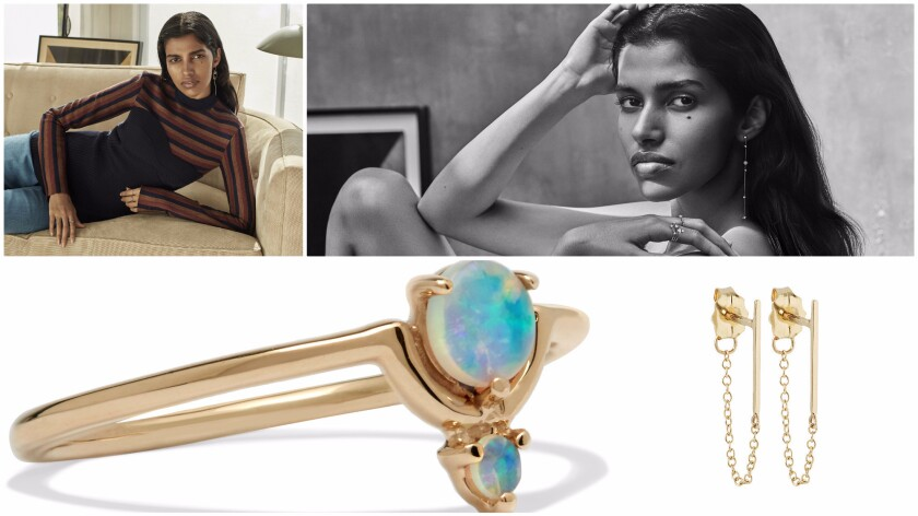 Visuals from Net-A-Porter's new jewelry campaign such as a ring by Wwake and earrings by Catbird.