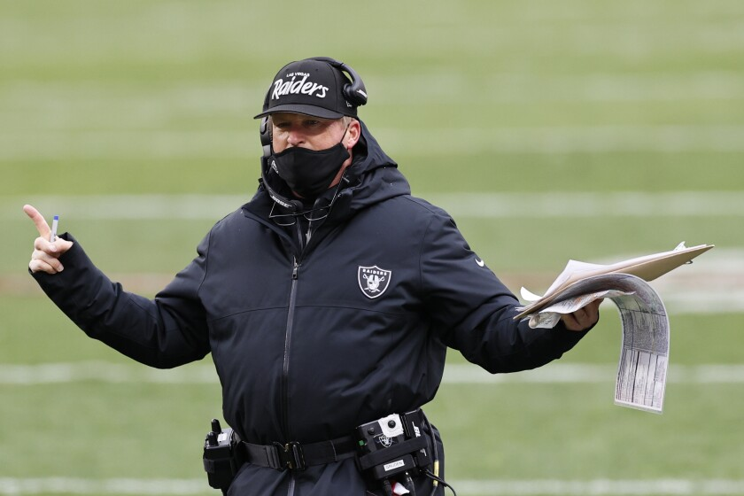Las Vegas Raiders head coach Jon Gruden reacts during the second half against the Cleveland Browns.