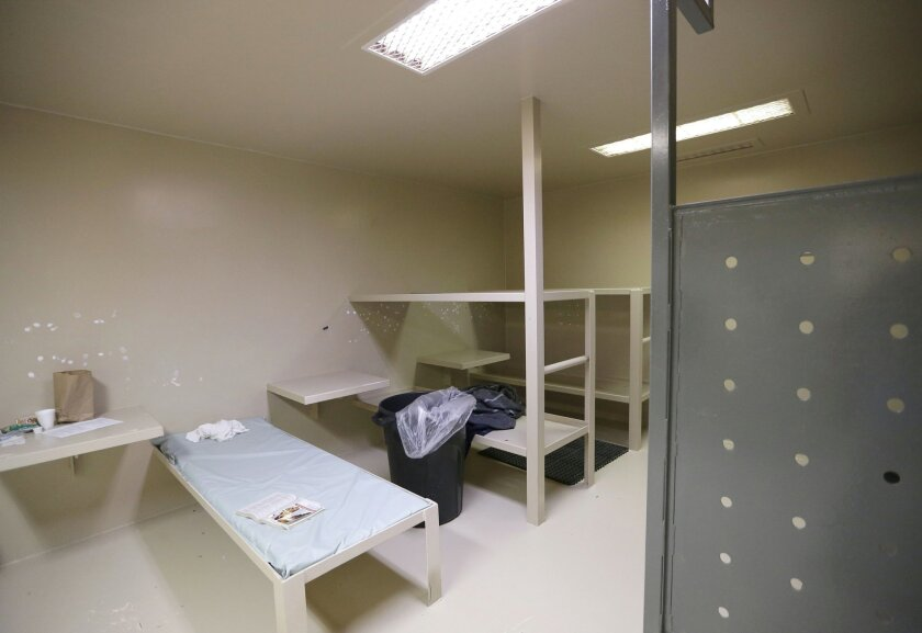 The Waller County jail cell where Sandra Bland was found dead is seen Wednesday, July 22, 2015, in Hempstead, Texas. Bland was arrested and taken to the jail about 60 miles (100 kilometers) northwest of Houston on July 10 and found dead July 13. Officials say Bland hanged herself with a plastic garbage bag in her jail cell, a contention her family and supporters dispute. (AP Photo/Pat Sullivan)