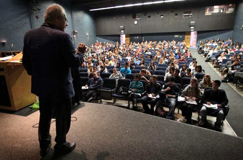 A UC Santa Barbara professor lectures to undergraduates in 2010.