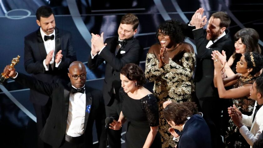 Barry Jenkins accepts the best picture Oscar