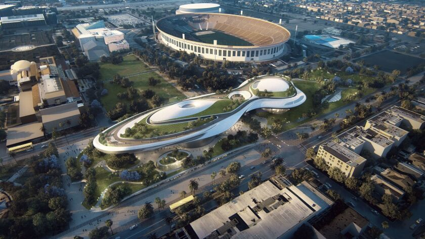 A rendering of Ma Yansong's design for the Lucas Museum of Narrative Art at Exposition Park.