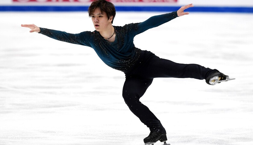 Shoma Uno performs his routine during the men's free skate on Saturday night.