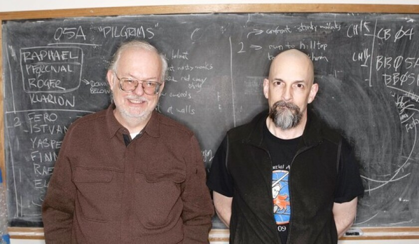 Science fiction writers Greg Bear, left, and Neal Stephenson created a subscription-based historical novel about Genghis Khan's conquests.