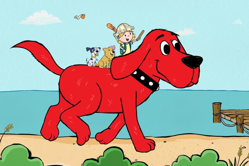 """This image released by Scholastic Entertainment shows a scene from the reboot of """"Clifford the Big Red Dog."""" The new show offers more diversity among the human characters and puts Clifford's beloved 7-year-old owner, Emily Elizabeth, front and center in his Birdwell Island adventures. (Scholastic Entertainment via AP)"""