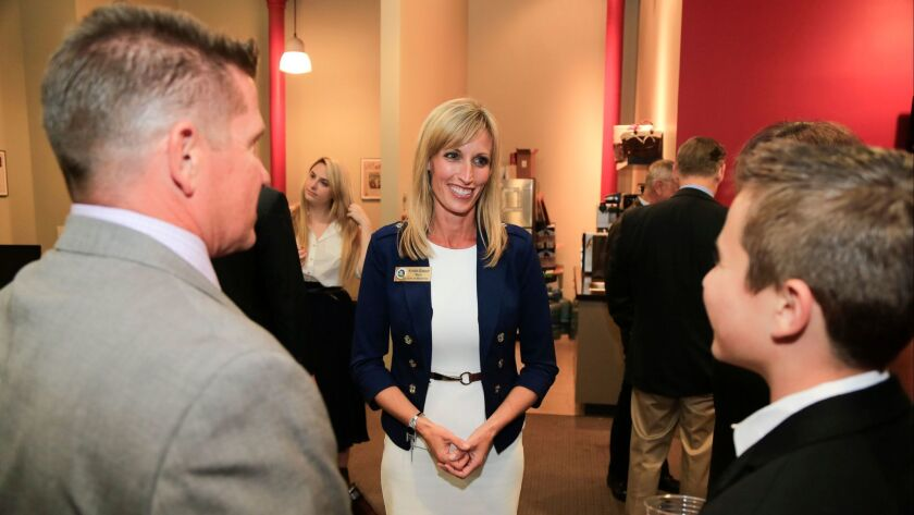 Kristin Gaspar, then a candidate for San Diego County Supervisor and the Mayor of Encinitas, talks with supporters after polls closed for the 2016 primary election.
