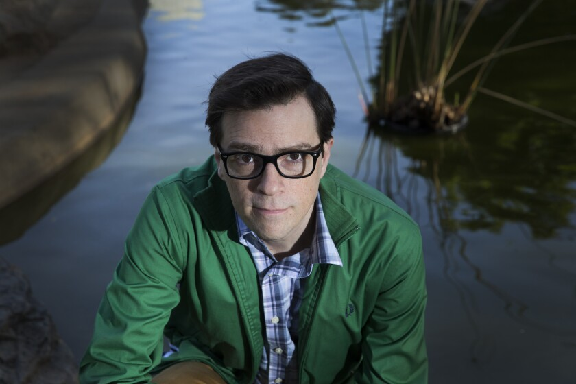 Rivers Cuomo, lead vocalist, lead guitarist and songwriter of Weezer, is photographed at Douglas Park in Santa Monica, on March 14.