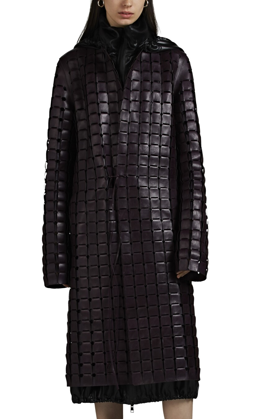 This Bottega Veneta laser-cut leather coat is an exclusive to Barneys this season.