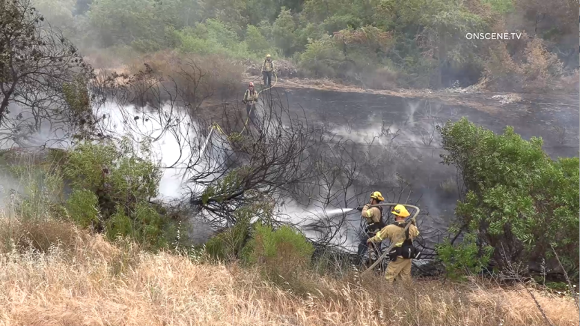 San Diego firefighters responded to a spree of small brush fires in San Ysidro Sunday.