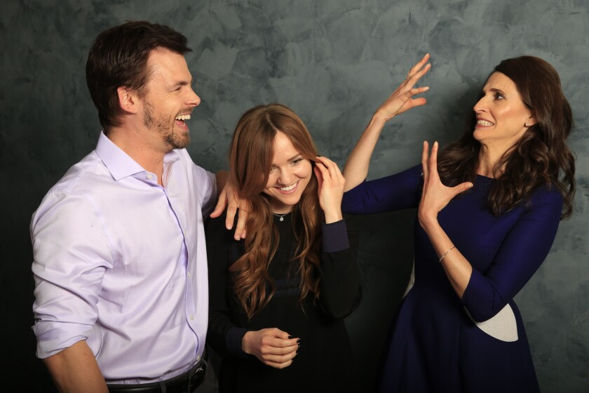 """Casual"" is about a bachelor brother Alex (played by Tommy Dewey) and his newly divorced sister Valerie (Michaela Watkins, right), and her teen daughter, Laura, center, played by Tara Lynne Barr, living under one roof again."