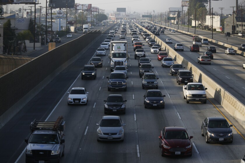 Traffic moves slowly southbound on the 5 Freeway between the 710 and 605 freeways in February.