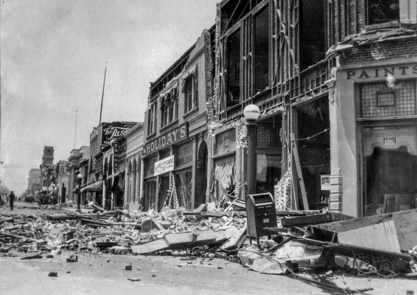 June 29, 1925:  Earthquake damage on State Street looking north from De La Guerra Street in Santa Barbara.