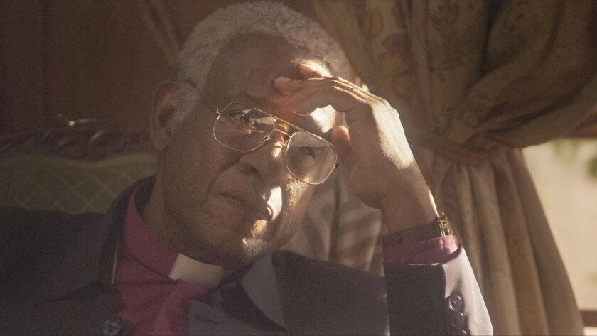 "Forest Whitaker portrays Archbishop Desmond Tutu during his time as head of post-apartheid South Africa's Truth and Reconciliation Commission in ""The Forgiven."""