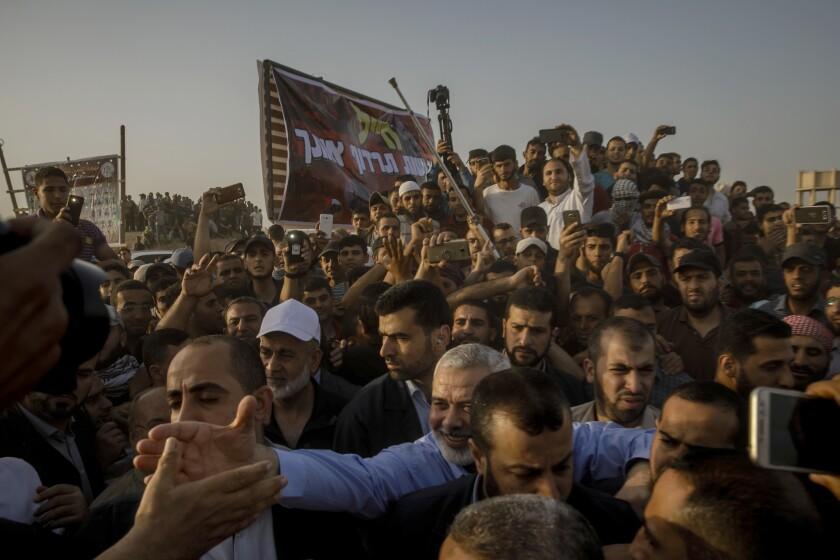 GAZA CITY, GAZA STRIP -- FRIDAY, MAY 18, 2018: Ismael Hanya, head of Hamas political bureau, rally t