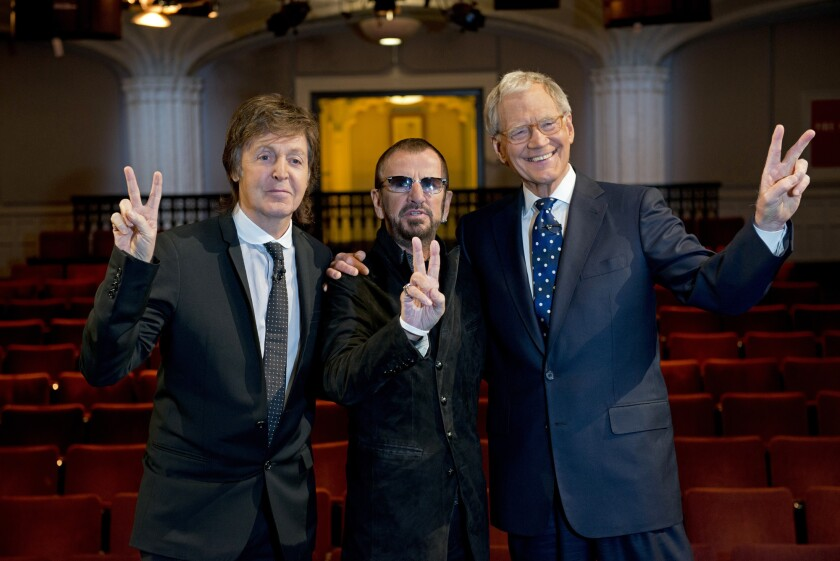 """Paul McCartney, Ringo Starr and David Letterman of """"The Beatles: The Night That Changed America."""""""