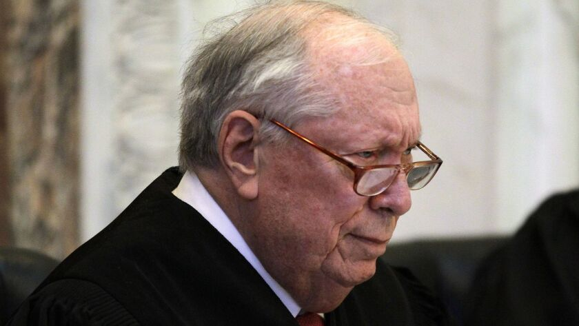 Circuit Judge Stephen R. Reinhardt listens to arguments during a hearing in the Ninth Circuit Court