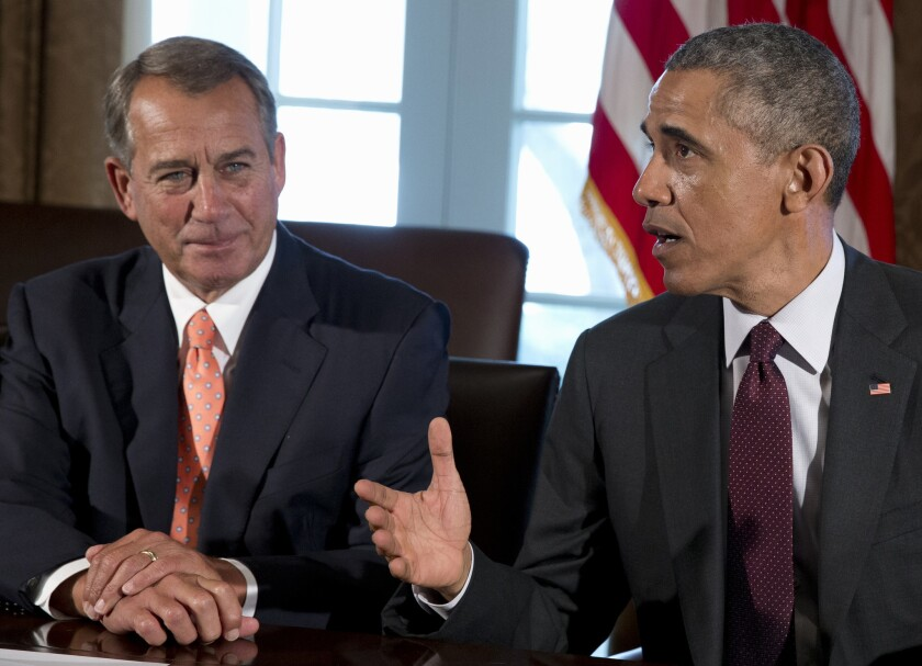 House Speaker John Boehner of Ohio and President Obama during a meeting in the Cabinet Room of the White House in Washington.