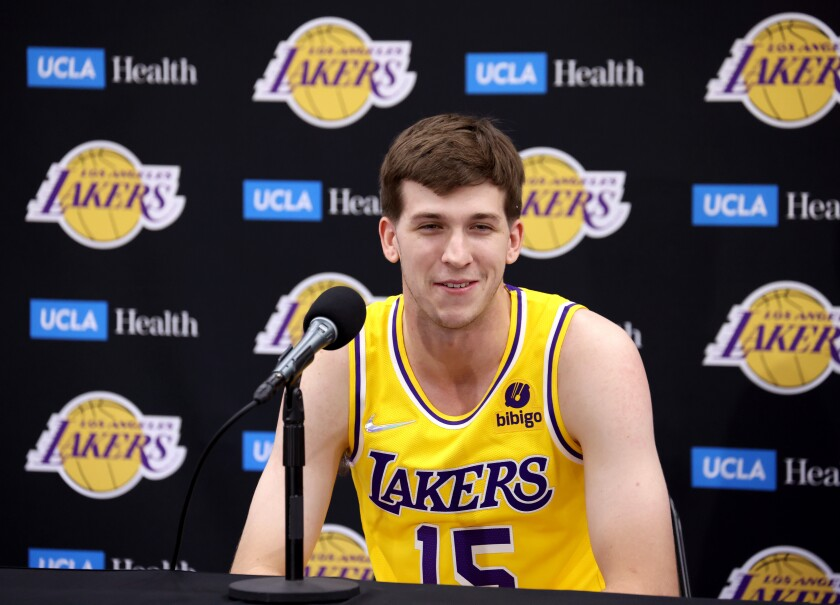 Rookie Austin Reaves, a.k.a. Hillbilly Kobe, speaks to reporters during Lakers media day Tuesday in El Segundo.