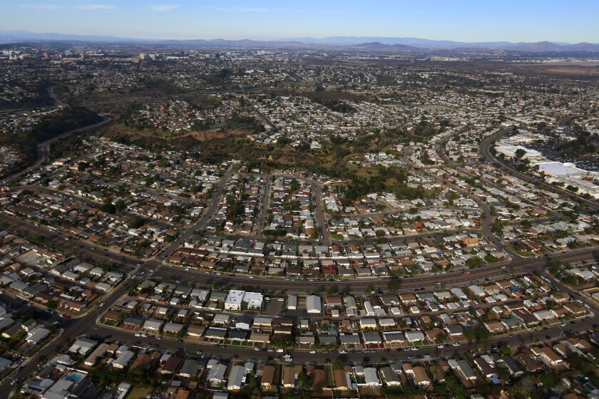 A aerial view of houses in the San Diego neighborhood of Clairemont on Friday, Dec. 8, 2017.