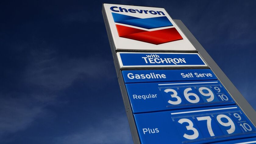 A gas station at Bear Valley and Mariposa Roads in Victorville, Calif., shows prices for gasoline Tu