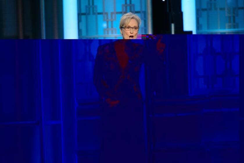 """La Asociación de la Prensa Extranjera de Hollywood (HFPA, por su sigla en inglés) felicitó a Meryl Streep por su discurso crítico con el presidente electo, Donald Trump, y aseguró que se mantiene del lado de la actriz en su """"defensa de la libertad de expresión y rechazo a la censura"""". EFE/EPA/SOLO USO EDITORIAL/NO VENTAS"""